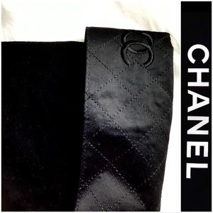 Chanel Black Quilted Trim Logo Scoop Neck Top